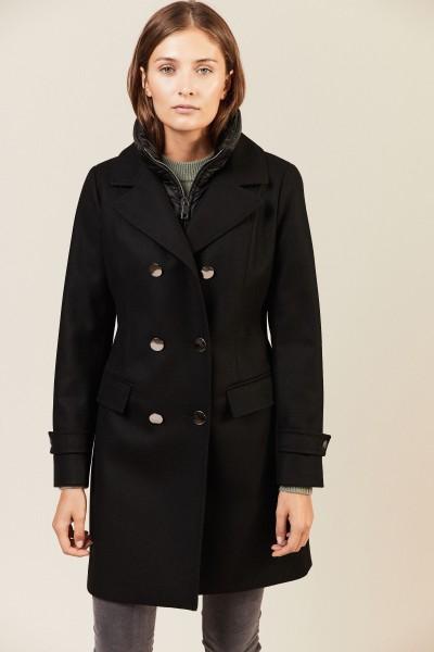 Woll-Cashmere-Mantel mit Futter Schwarz
