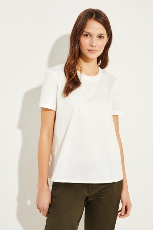 Baumwoll-Shirt mit rückseitigem Detail Crème
