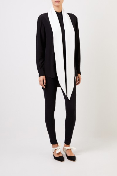 Givenchy Seidenbluse mit Schluppendetail Schwarz/Weiß