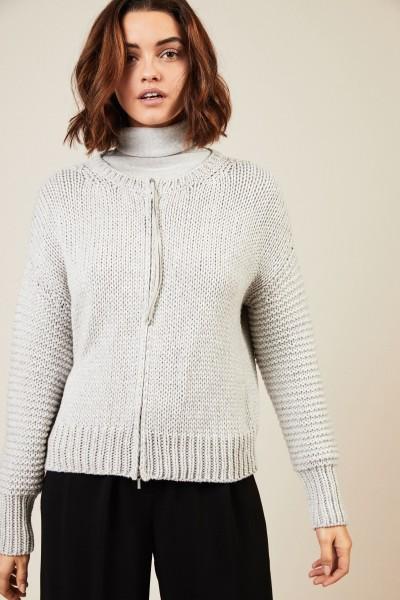 Woll-Cardigan Silber/Grau