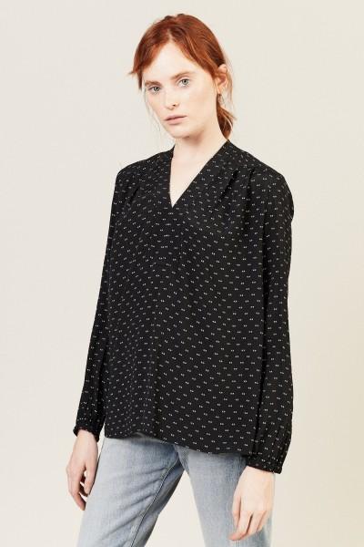 Bluse mit Print Schwarz