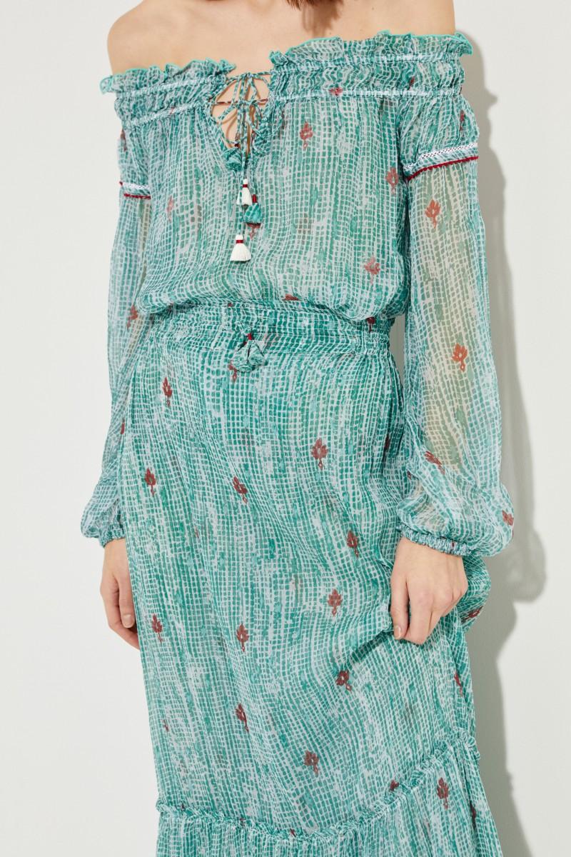 Maxi-Seidenrock 'Clara' mit Print Grün
