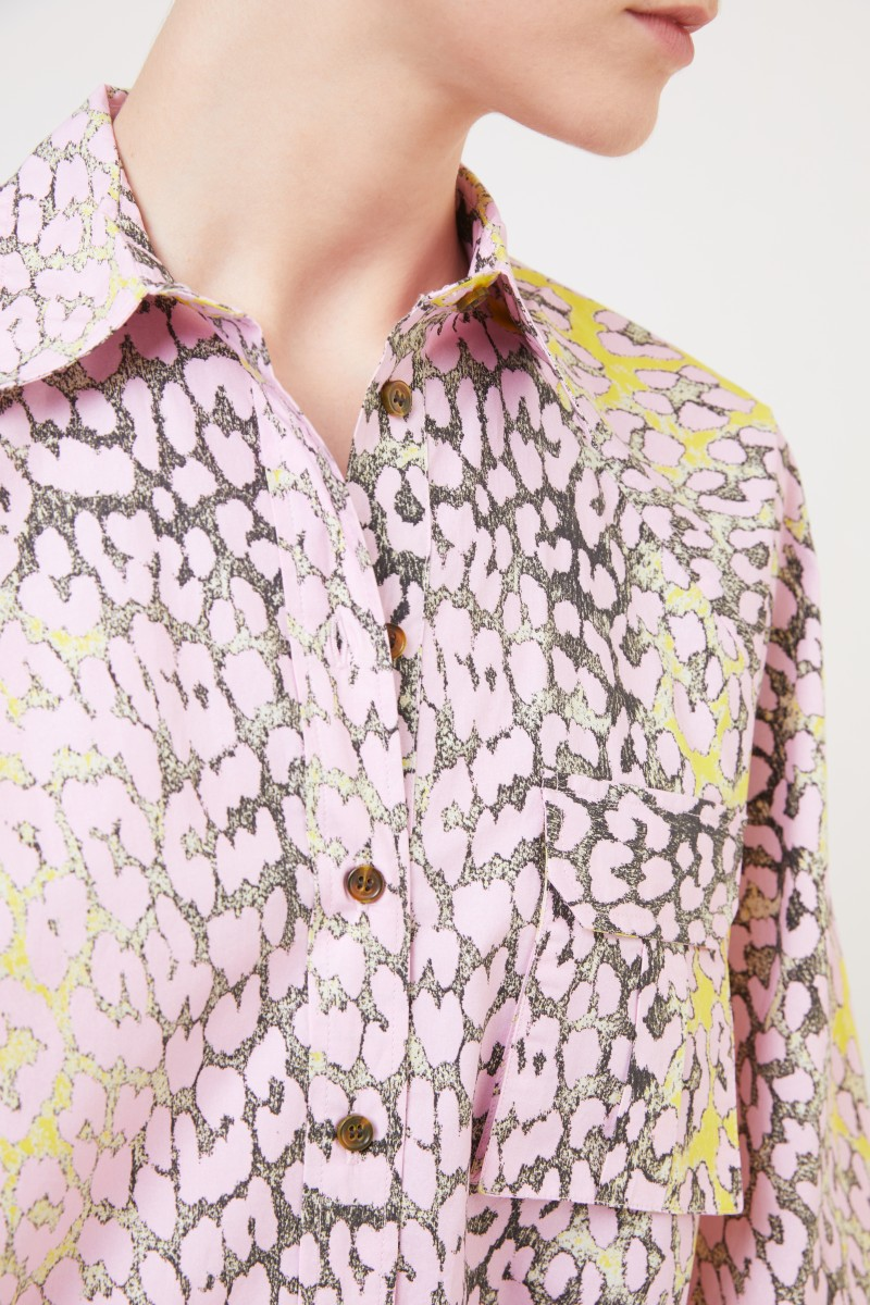 Hemdblusenkleid mit Leoprint Rosé/Multi