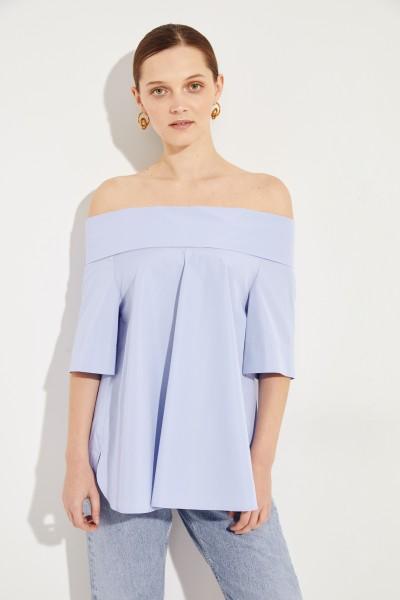 Off-Shoulder Bluse Blau
