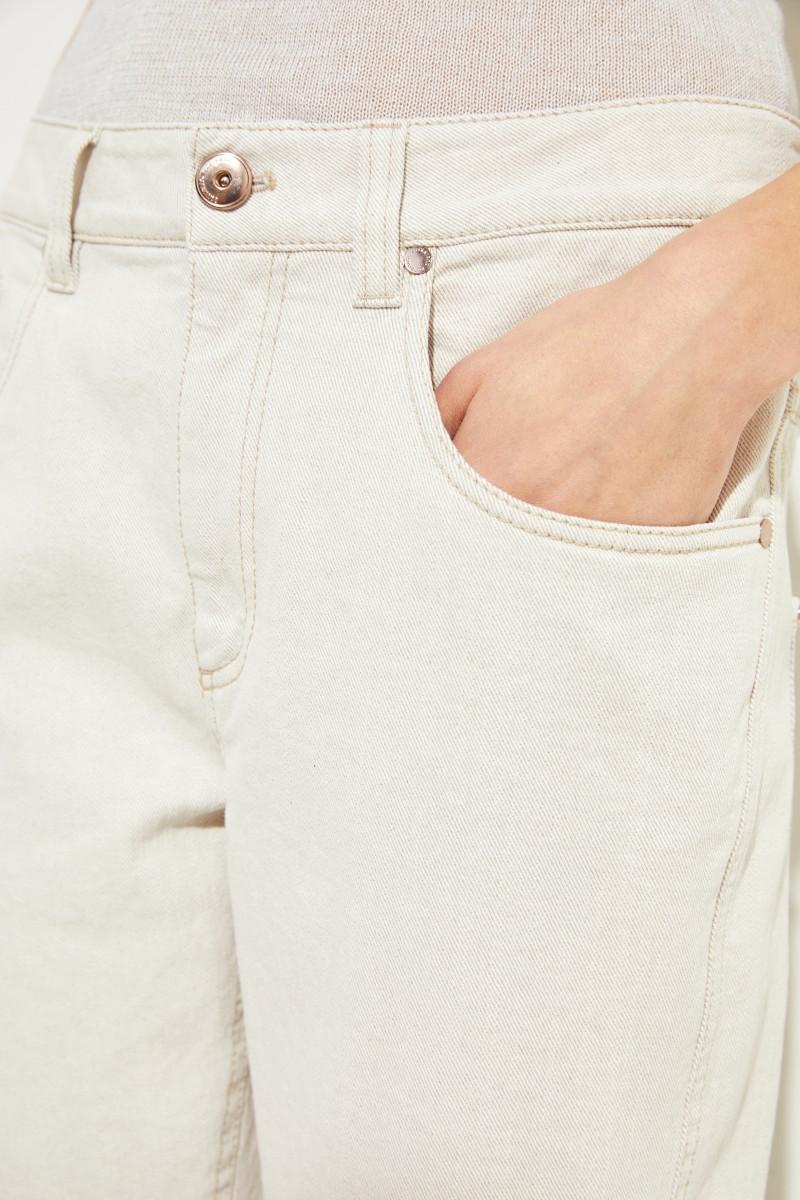 Baumwoll-Jeans mit Perlenverzierung Grau