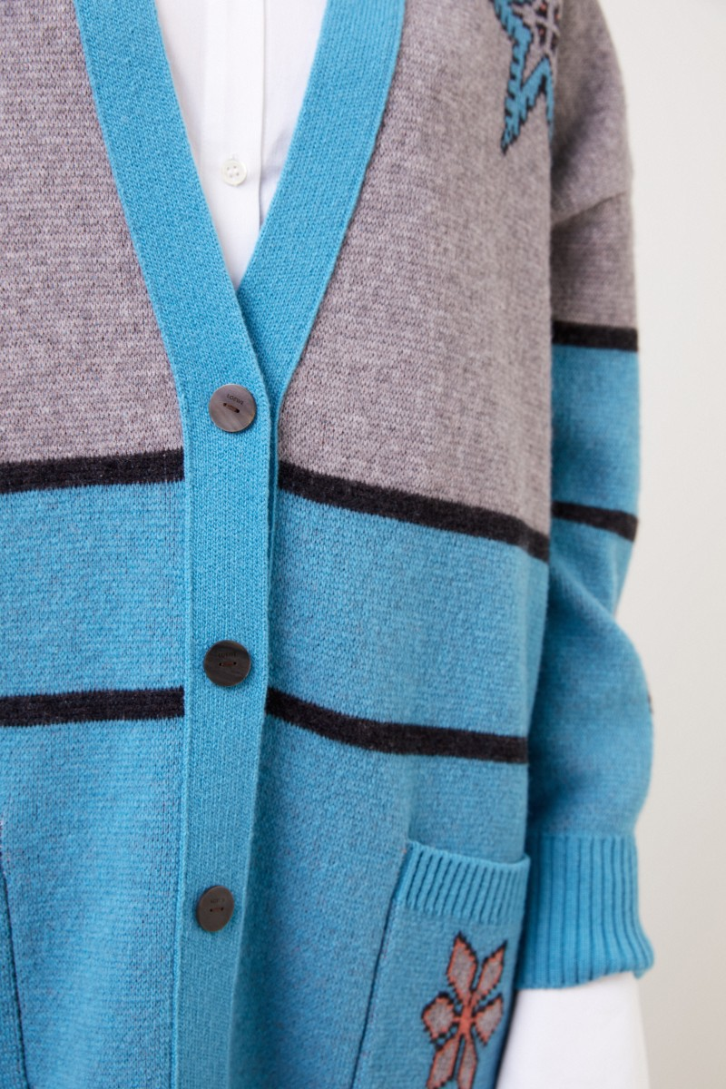 Woll-Cardigan Grau/Blau