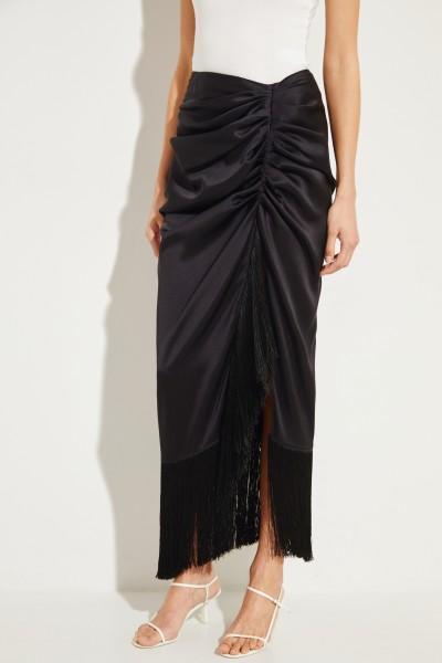 Silk skirt with fringe details Black