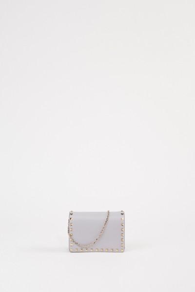 Valentino Leather shoulder bag with rivets Grey