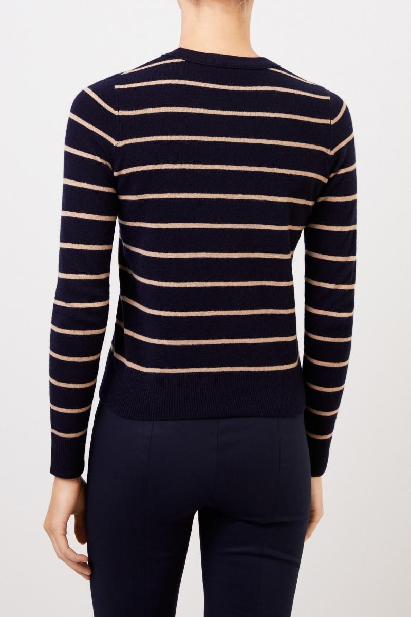 Vince Gestreifter Cashmere-Pullover Navy/Beige