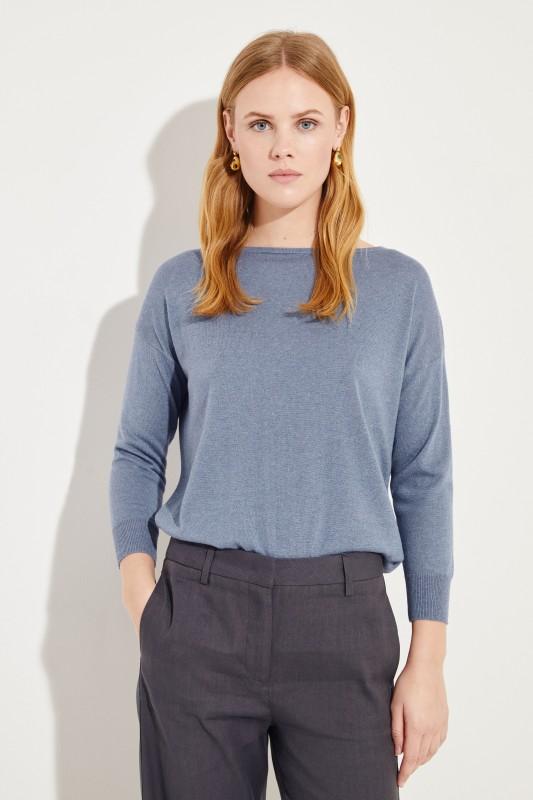 Seiden-Cashmere-Pullover Blau