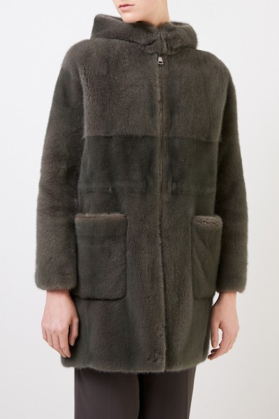 Manzoni 24 Mink coat with hood Green