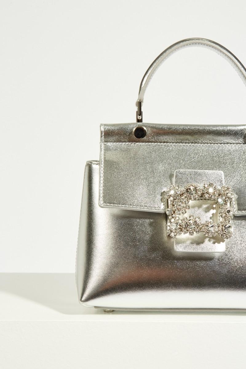 Tasche 'VIV Cabas Mini' mit kristallverzierter Schnalle Silber