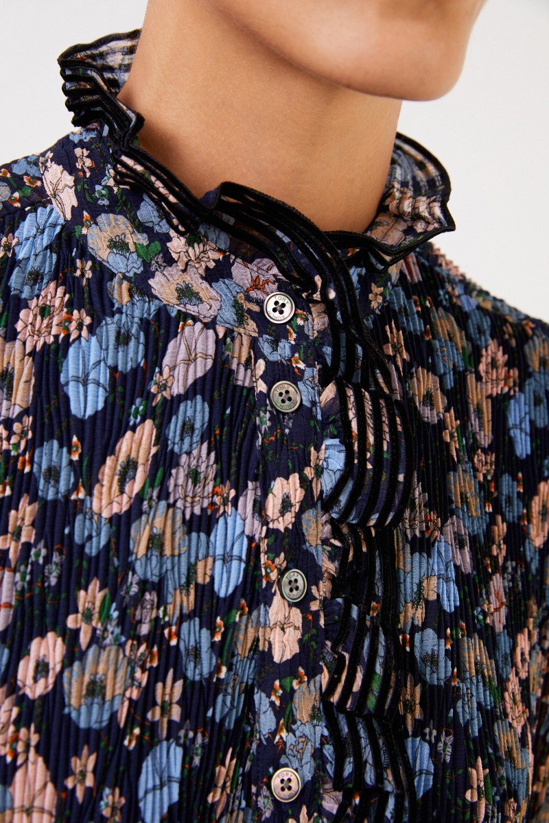 Tory Burch Pleated dress with floral print Blue/Multi