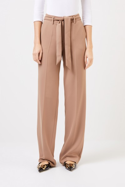 Cambio Flared trousers 'Malice' with belt detail Camel