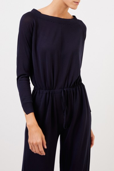 Stella McCartney Wool jumpsuit with binding detail Navy Blue
