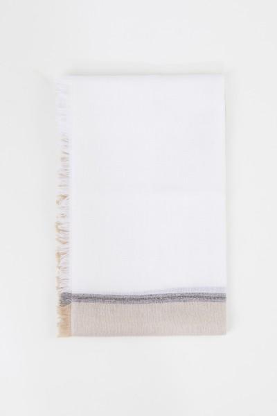 Brunello Cucinelli Cashmere-Seiden-Tuch mit Perlenverzierung Weiß/Créme