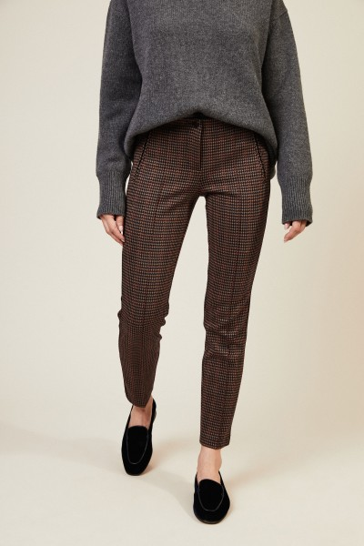 Stretch-Hose 'Ros' mit Hahnentrittmuster Bordeaux