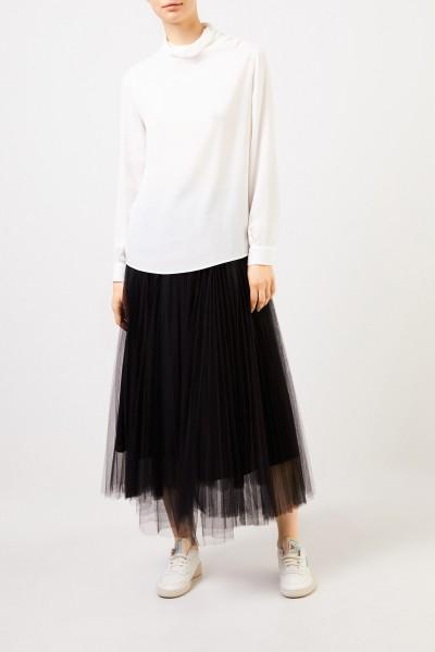 Pleated tulle skirt Black