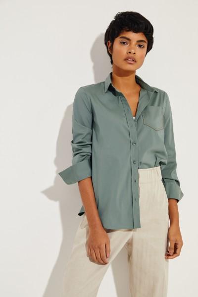 Klassische Bluse mit Perlen-Details Salbei