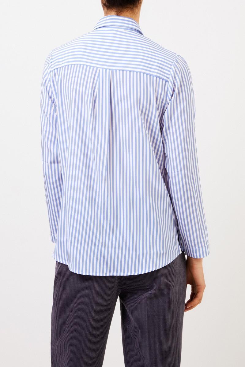 Kimmich Trikot Gestreifte Seiden-Bluse Blau/Weiß