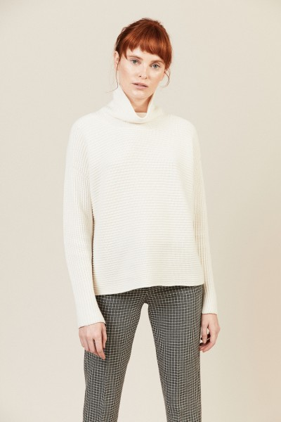 Cashmere-Pullover mit Perlenapplikation Crèmeweiß