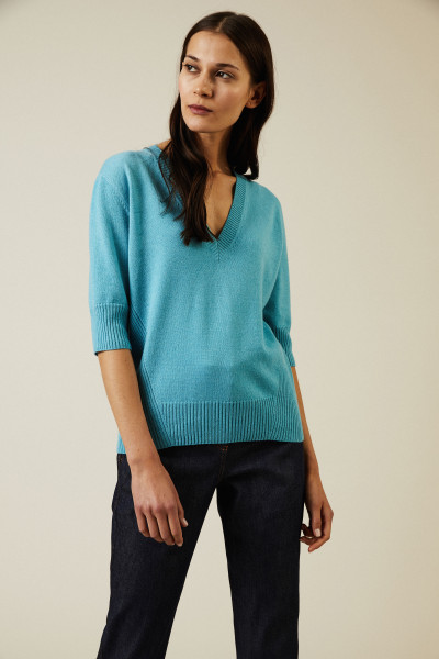 Cashmere-Pullover mit Rippdetails Hellblau