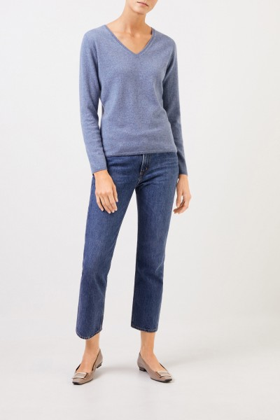 Cashmere pullover with v-neck Blue melange