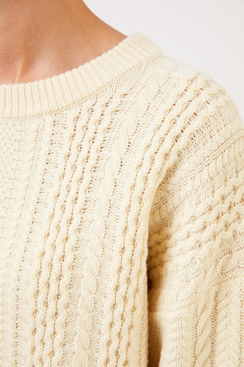 Uzwei Cashmere-Pullover mit Zopfmuster Hellgelb