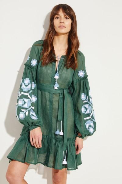 Kurzes Leinen-Kleid 'Zarina' mit Stickerei Grün/Multi