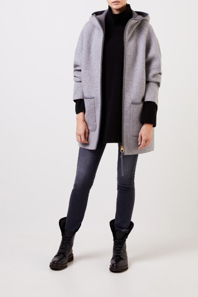 Agnona Cashmere coat with hood Grey