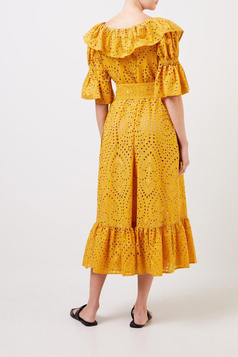 9fc54744acc94 Baumwoll-Kleid mit Lochstickerei Gelb | Spitzenkleider | Kleider ...
