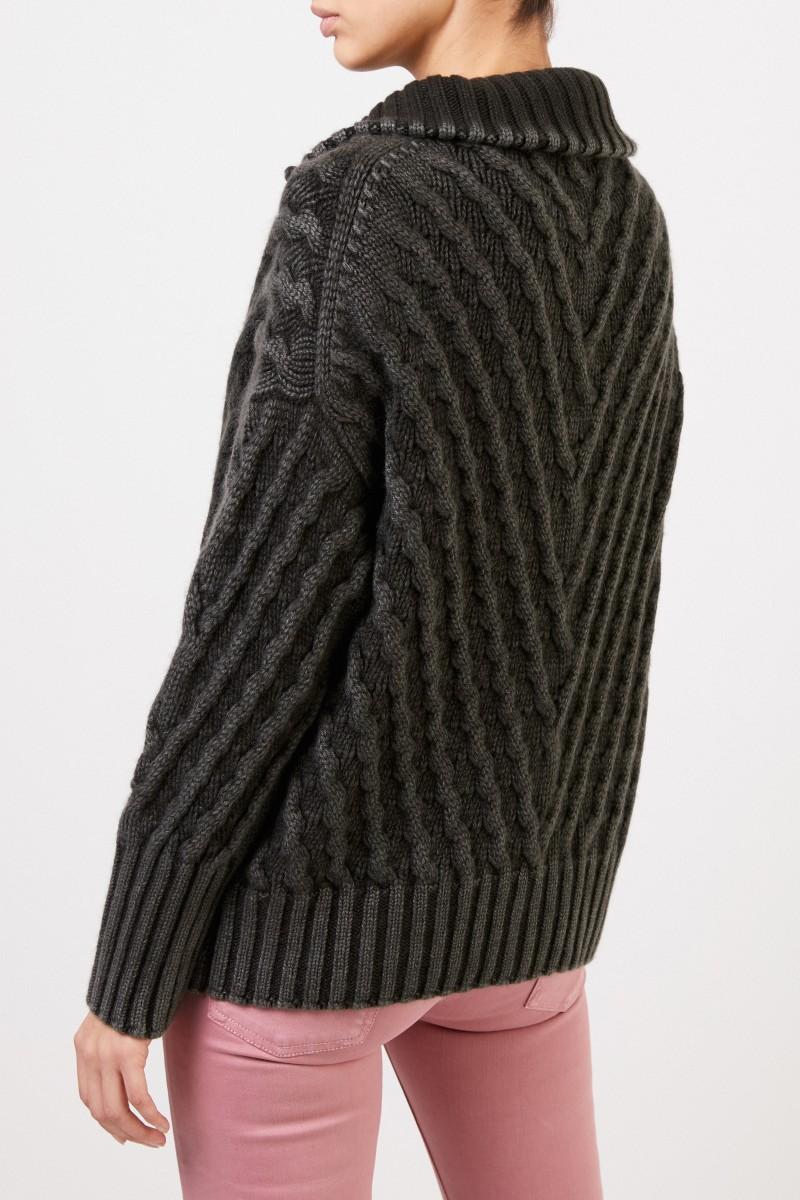 Cashmere-Cardigan 'Sedge' mit Zopfmuster Grün