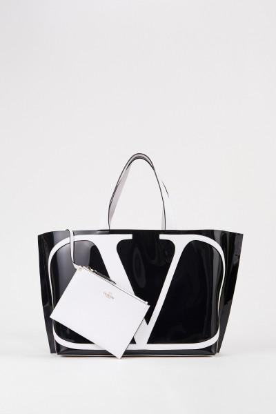 Valentino Großer Shopper mit frontalem Logo Schwarz/Weiß