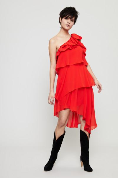 One-Shoulder Seidenkleid mit Volants Brigth Red
