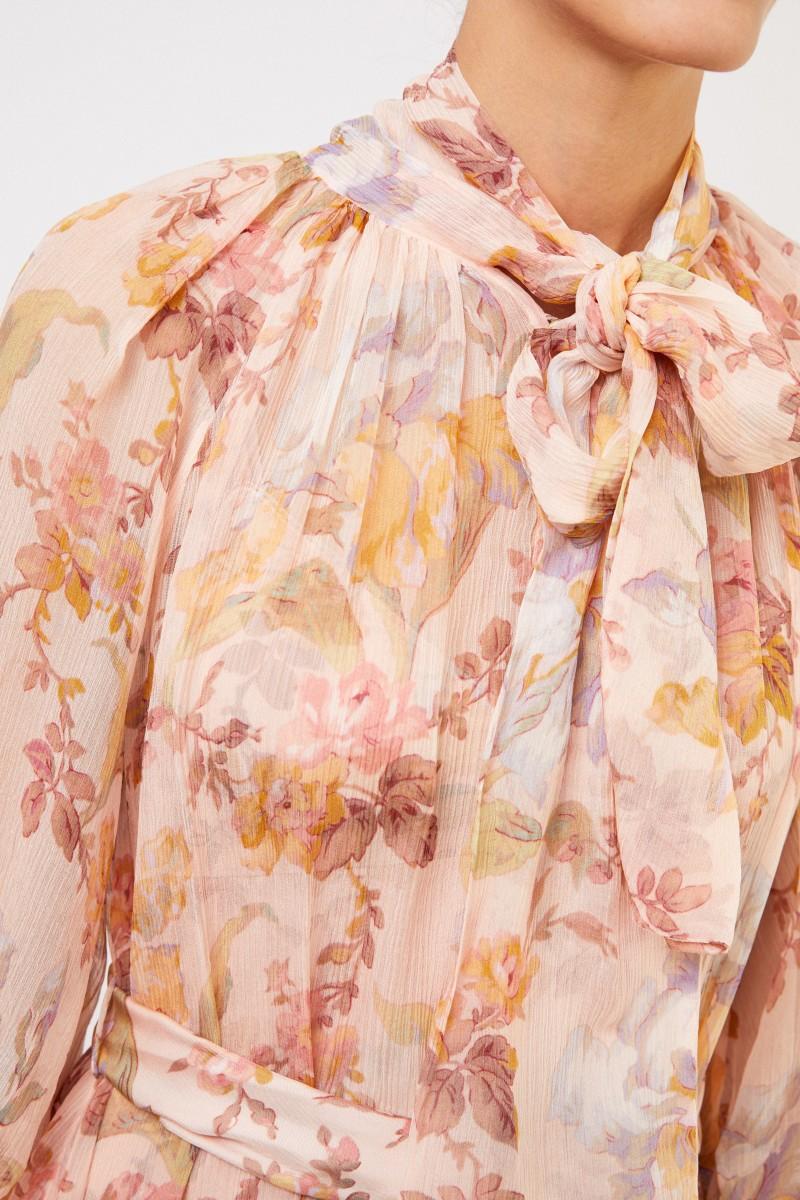 Zimmermann Zweiteiliges Seidenkleid mit floralem Print Multi