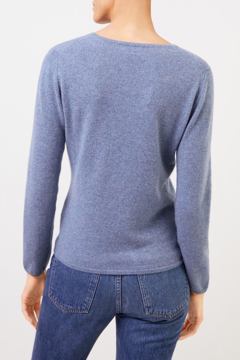 Cashmere-Pullover mit R-Neck Denimblau