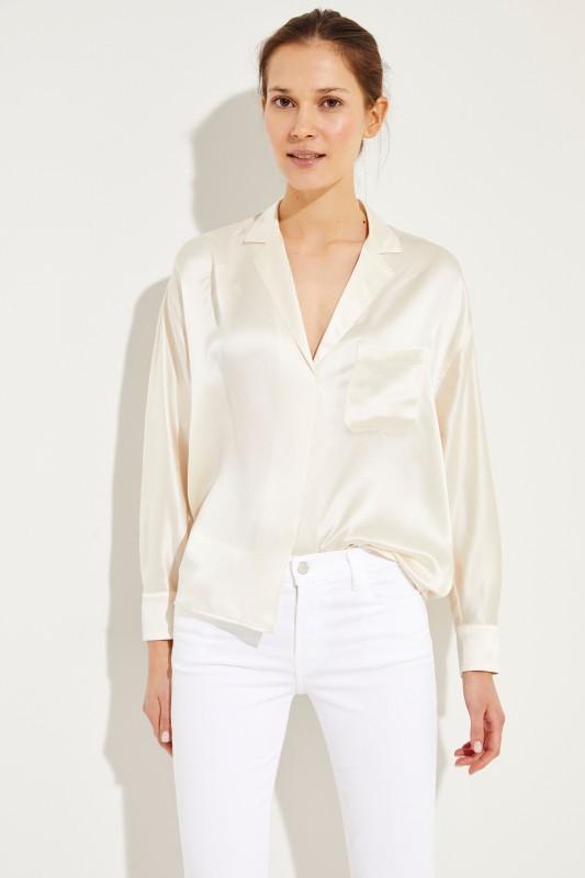 Seiden-Bluse mit edlem Glanzfinish Crème