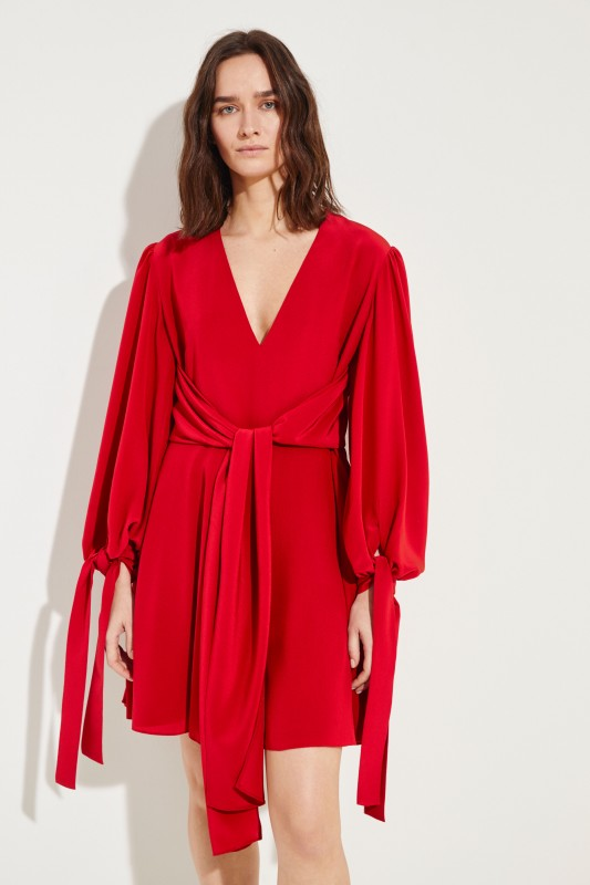 Silk-Dress with Binding Detail Red