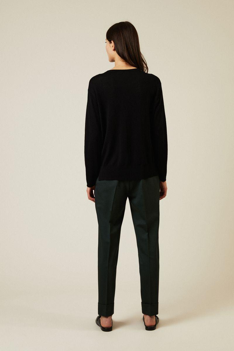 Woll-Pullover mit Perlenverzierung Schwarz