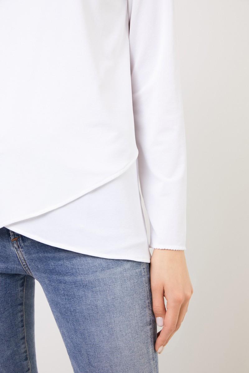 Longsleeve mit asymmetrischen Saumen Weiß
