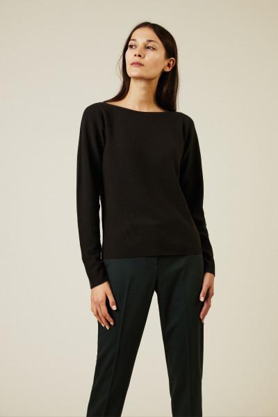 Cashmere-Seiden-Pullover Dunkelbraun