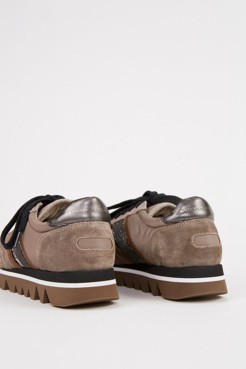 Brunello Cucinelli Veloursleder-Sneaker Taupe