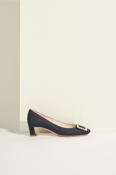 Leather pump 'Belle Vivier Trumpet' with buckle Blue-Metallic