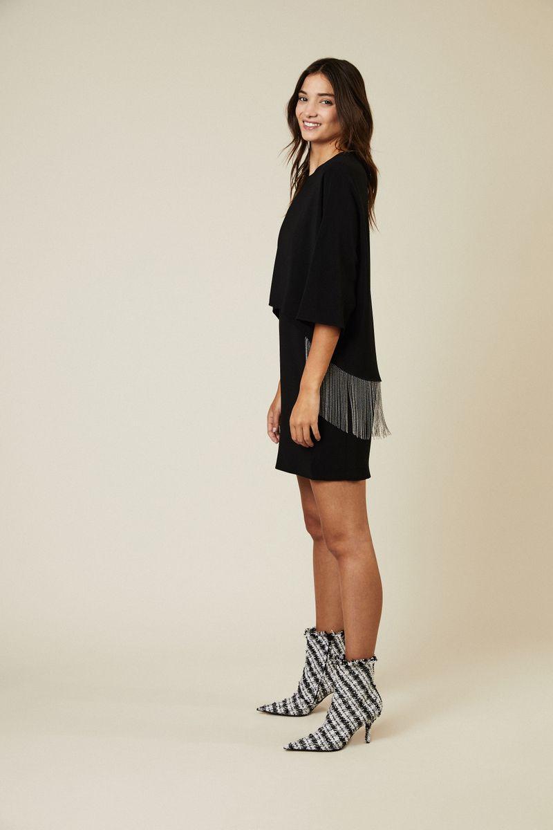 Kurzes Kleid mit Ketten-Details Schwarz