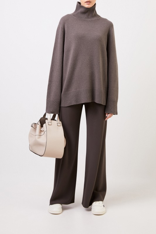 The Row Woll-Cashmere-Pullover 'Milina' Grey/Grün