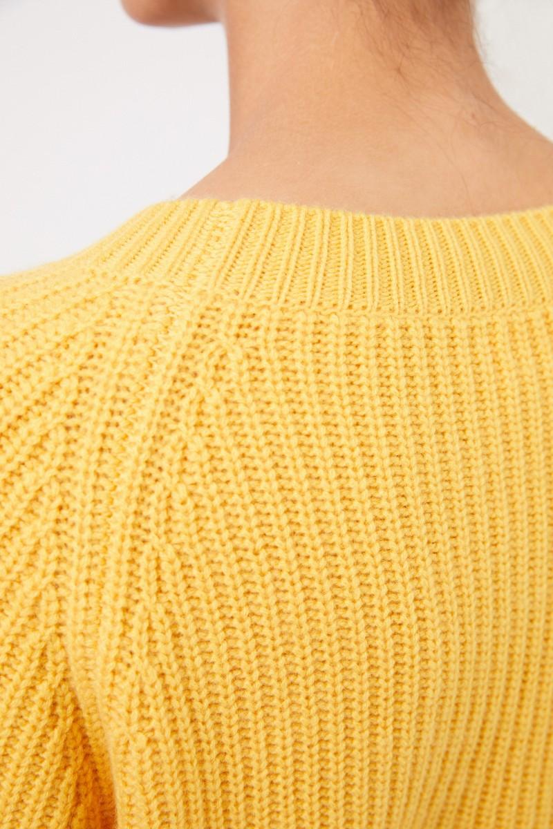 Rippstrick-Cashmere-Pullover Gelb
