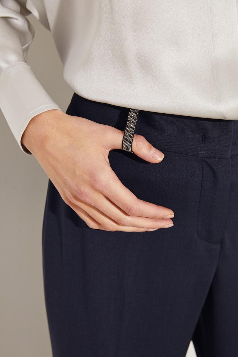 Woll-Hose mit Perlenverzierung Blau