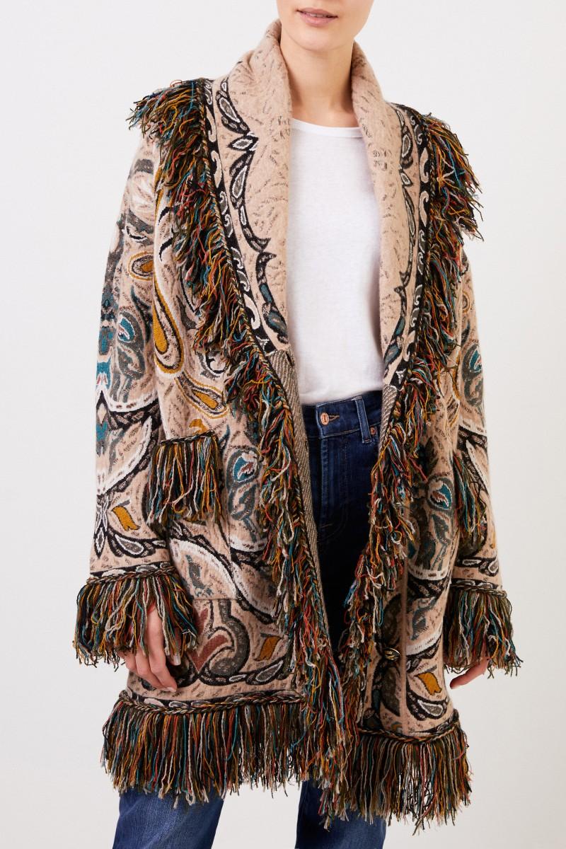 Mantel mit Paisleymuster und Fransen Beige/Multi