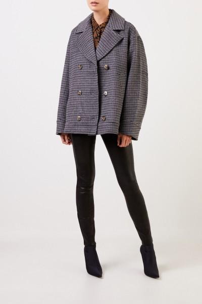 Ganni Woll-Jacke mit Glencheck Grau/Multi
