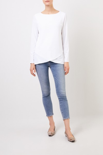 Longsleeve with asymmetric hems White